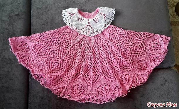 Вязание ажурное платье для девочки