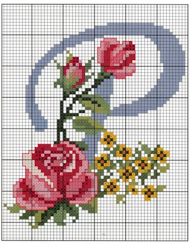 Буквы в розочках. Вышивка крестом английского алфавита (5) (389x500, 247Kb)