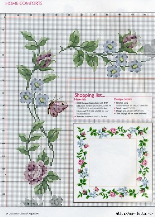Вышивка на салфетке - розы и незабудки (1) (498x700, 302Kb)
