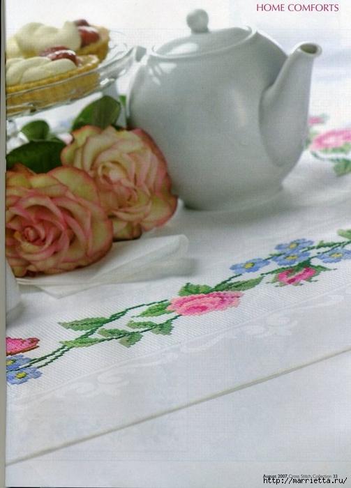 Вышивка на салфетке - розы и незабудки (3) (503x700, 211Kb)