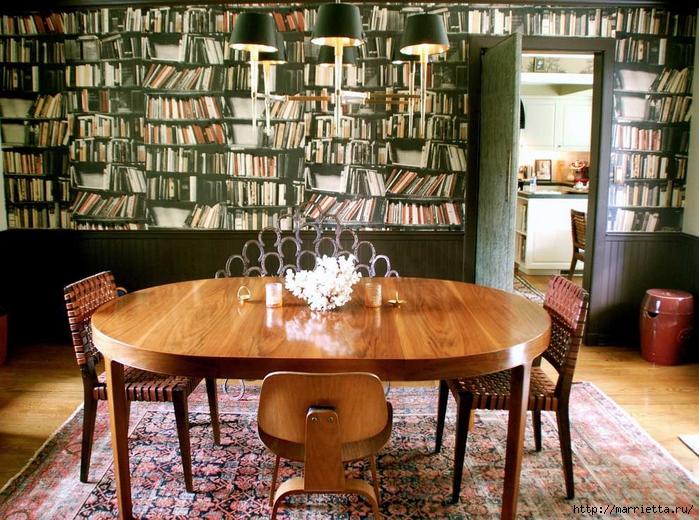 фотообои - книжные полки, библиотека в интерьере (2) (700x520, 372Kb)