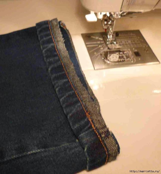 Подшиваем джинсы с сохранением потертого края (4) (646x700, 216Kb)