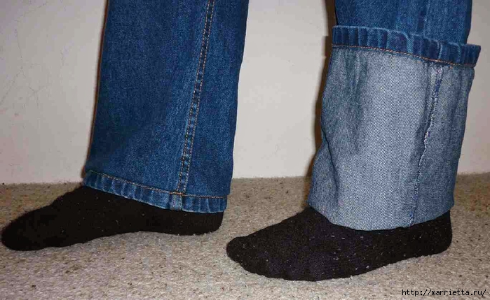 Подшиваем джинсы с сохранением потертого края (5) (700x429, 230Kb)