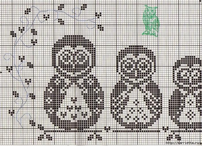 Матрешки-Совушки. Схема вышивки крестом (1) (700x507, 455Kb)