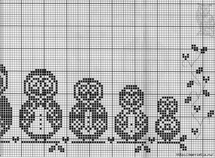 Матрешки-Совушки. Схема вышивки крестом (2) (700x514, 375Kb)