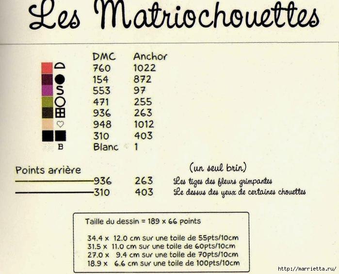 Матрешки-Совушки. Схема вышивки крестом (4) (700x565, 248Kb)