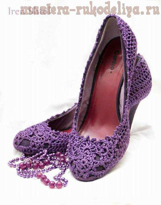 схема вязание крючком туфли