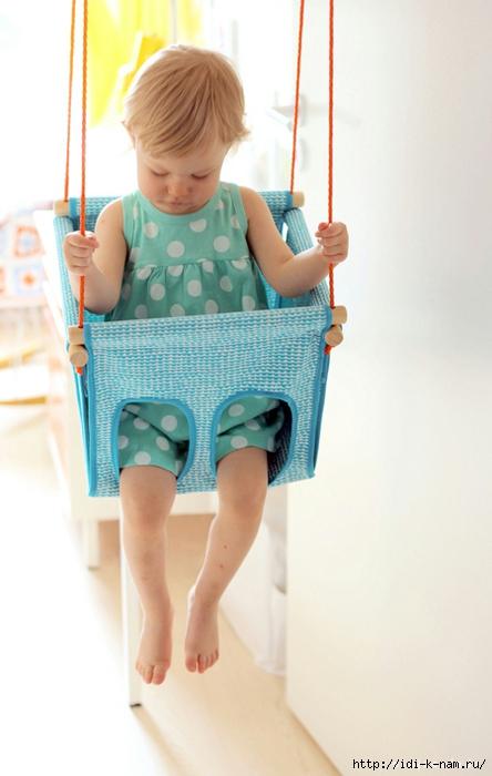 как сделать качели для самых маленьких, как сделать качели для малыша, делаем безопасные качели для маленького ребенка, мастер класс по изготовлению качелей для ребенка,