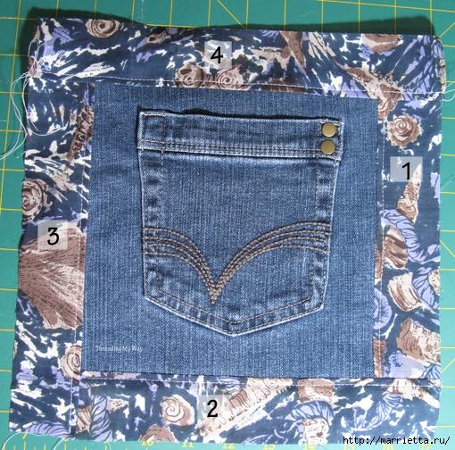 Подушка из джинсов для садовой скамейки (11) (510x504, 326Kb)