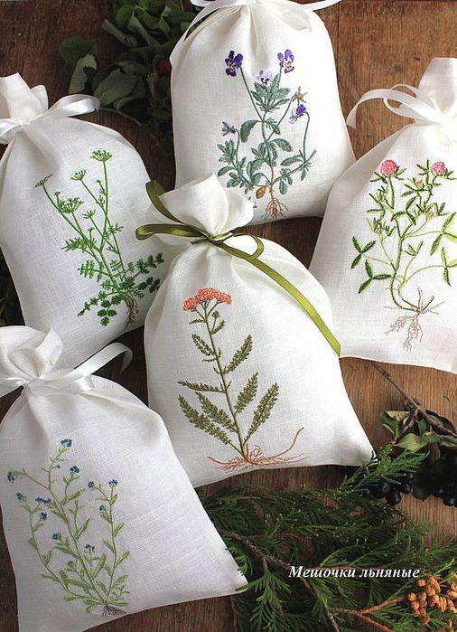 Вышивка на мешочки для травы