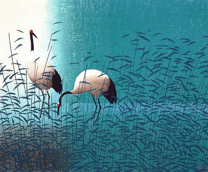 中国版画:丹顶鹤