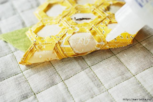Стеганая салфетка с аппликацией ананаса. Лоскутное шитье (9) (640x429, 240Kb)