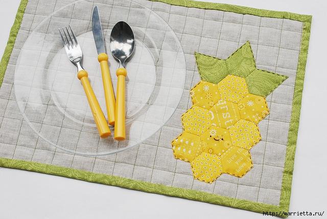Стеганая салфетка с аппликацией ананаса. Лоскутное шитье (14) (640x429, 211Kb)