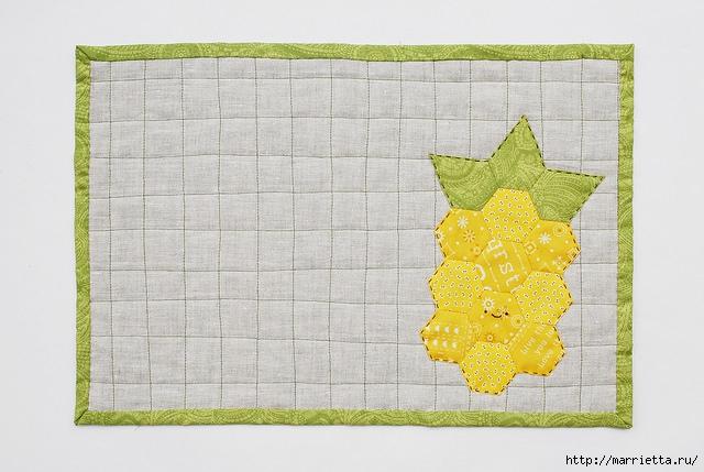 Стеганая салфетка с аппликацией ананаса. Лоскутное шитье (15) (640x429, 182Kb)