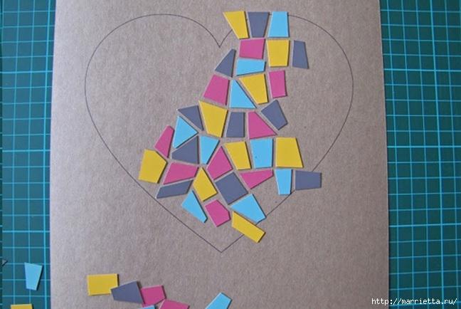 Открытка с сердечком. Мозаика из цветного картона (4) (648x434, 166Kb)