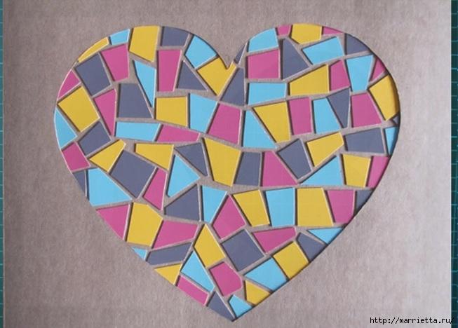 Открытка с сердечком. Мозаика из цветного картона (8) (653x468, 169Kb)