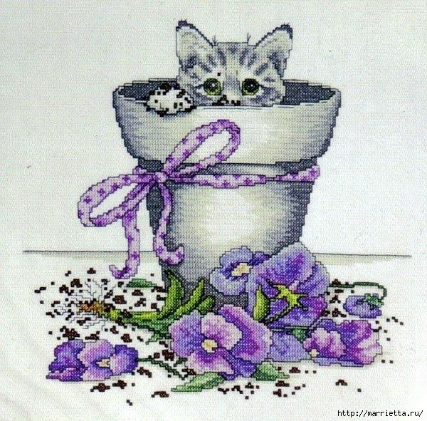 Схемы вышивки - котенок в кружке и в горшочке (10) (600x591, 288Kb)