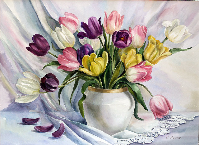 Рисунки акварелью цветов в вазе