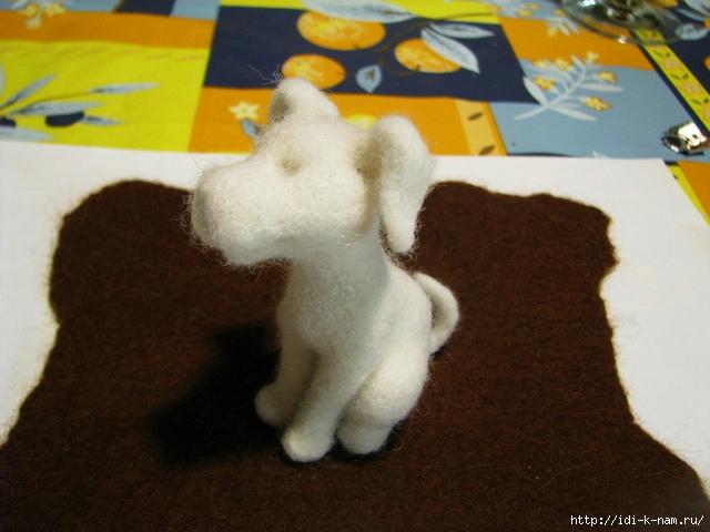 валяный далматинчик, как свалять долматинчика из шерсти, долматинчик из шерсти,