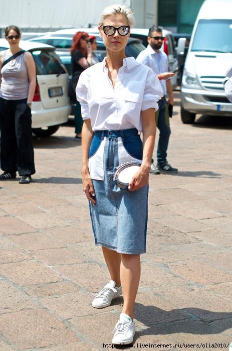 Denim shirt and white skirt
