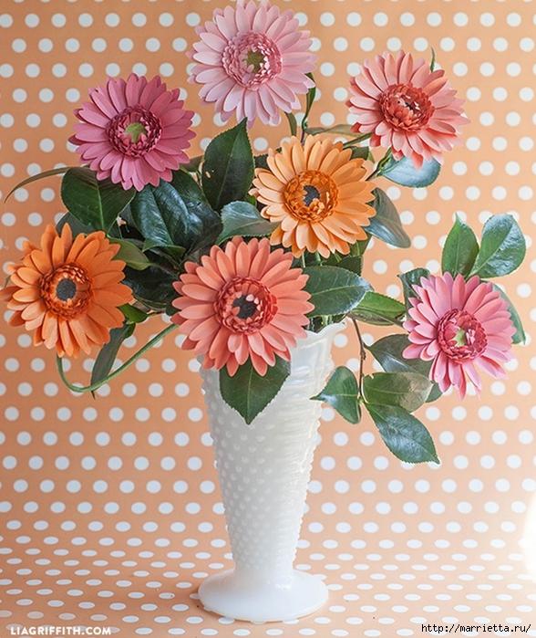 ГЕРБЕРЫ из цветной бумаги. Шаблоны и фото мастер-класс (1) (588x700, 368Kb)