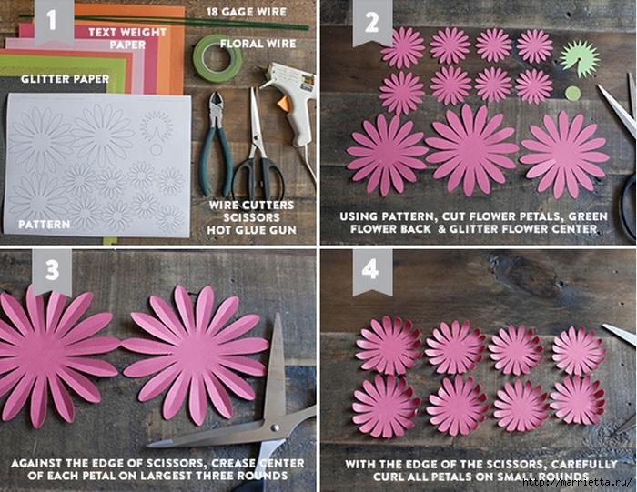 ГЕРБЕРЫ из цветной бумаги. Шаблоны и фото мастер-класс (4) (700x541, 304Kb)