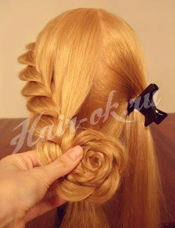 Причёски из косичек цветок