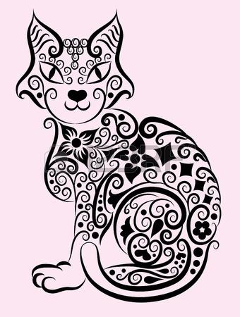 13513311-Декоративный-орнамент-cat-1 (340x450, 137Kb)