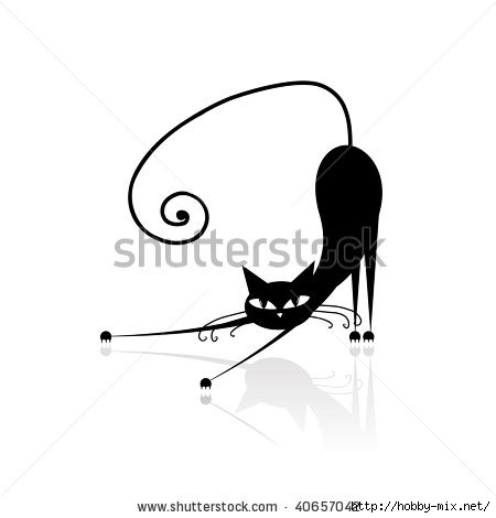 stock-vector-black-cat-silhouette-for-your-design-40657042 (450x470, 40Kb)