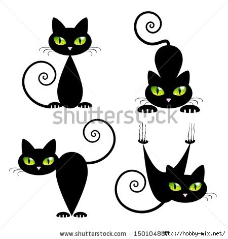 stock-vector-black-cat-with-green-eyes-vector-illustration-150104837 (450x470, 69Kb)