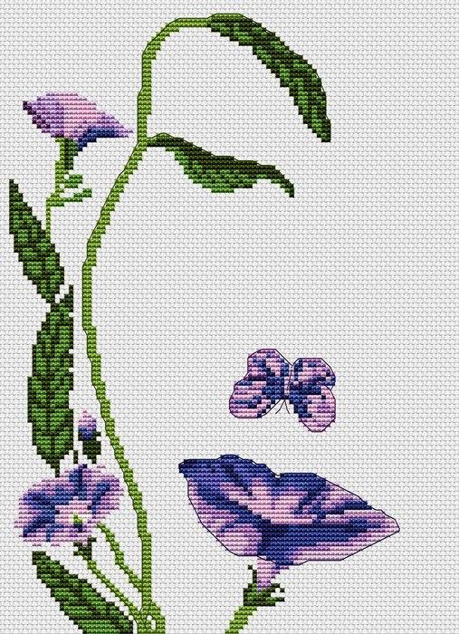 цветы и бабочка1 (507x700, 154Kb)