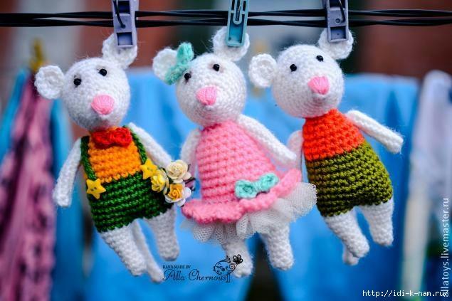 вязаные мышки, как связать мышку, схема вязания мышки, мастер класс по вязанию мышки,  Хьюго Пьюго рукоделие, http://idi-k-nam.ru/,