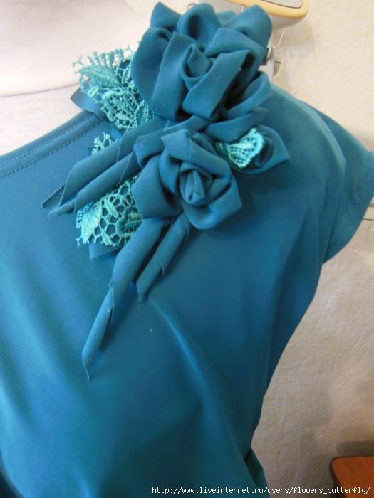 Цветы на платье своими руками трикотаж