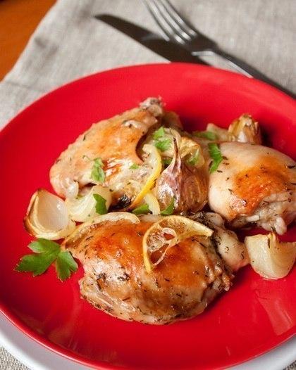 Запеченная курица с лимонами и белым вином (420x526, 48Kb)