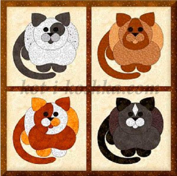 Лоскутное панно с кошками