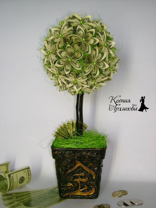 Денежное дерево из денег своими руками фото