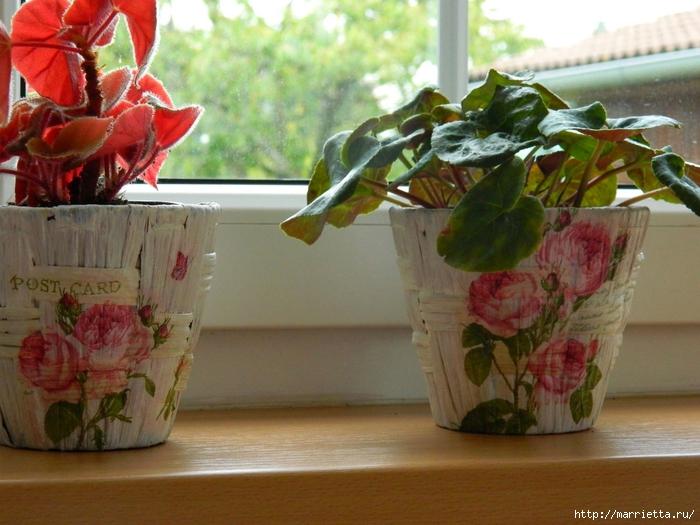 Декупаж на цветочных горшках из соломки (4) (700x525, 283Kb)