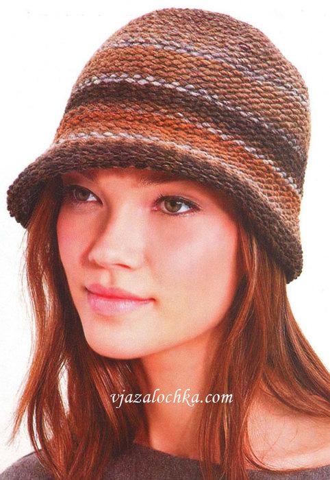 Дамская шляпка-клош связана