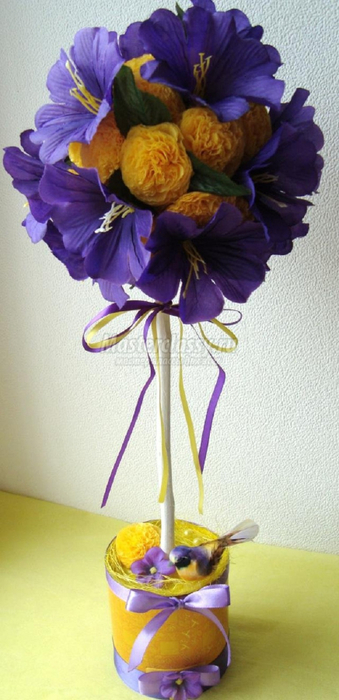Цветы топиарий из салфеток