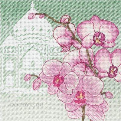 схема вышивки розовая орхидея