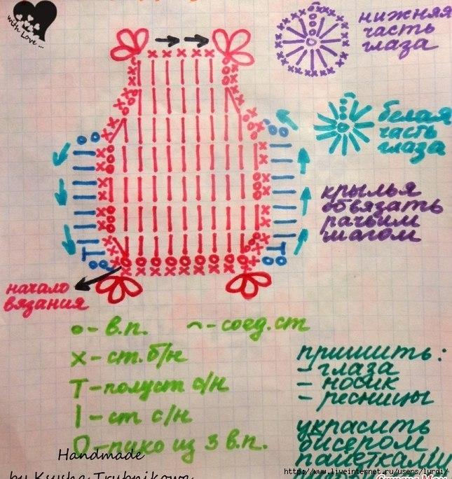 Сова вязание крючком со схемой 64