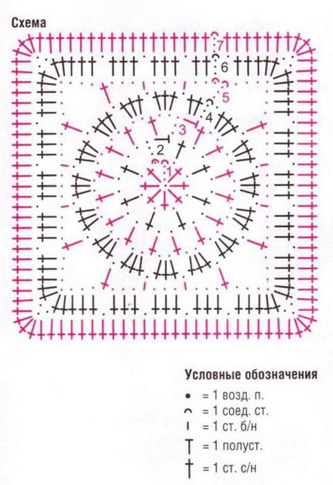 Связать крючком квадрат из круга крючком