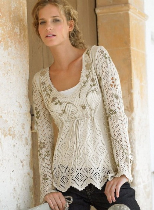 Модный пуловер спицами от Iris