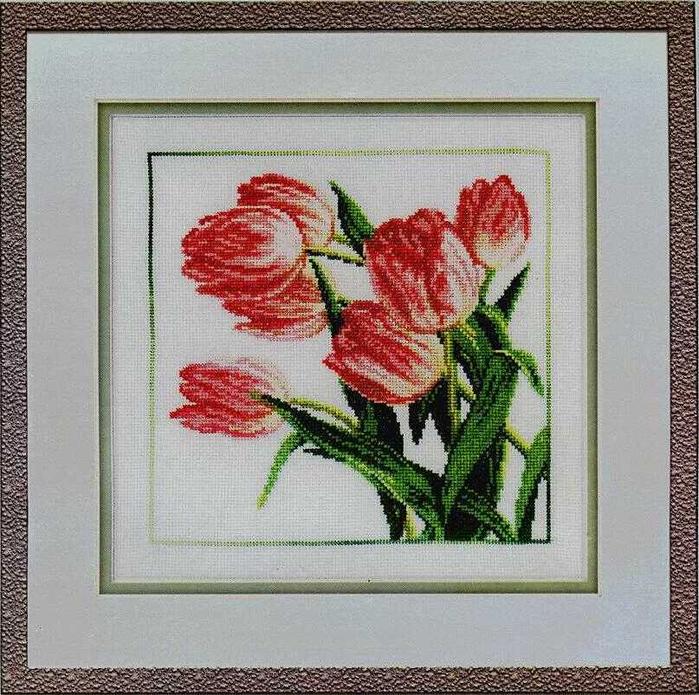 схема вышивки алые тюльпаны