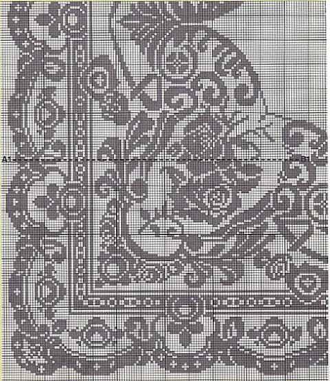 Филейное вязание скатерти