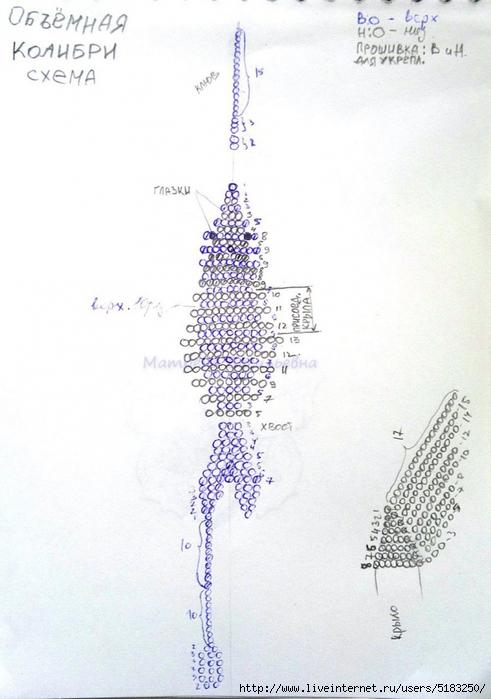 Калибри из бисера схема