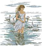 Превью Lanarte34732  женцина на озере с лебедями (300x330, 106Kb)