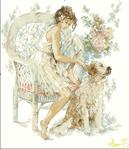 Превью Lanarte 71369 Girl with Dog женщина и сербернар (380x440, 149Kb)