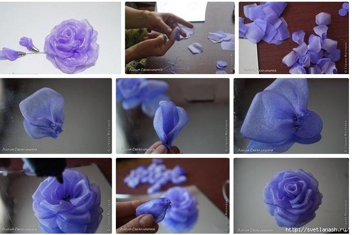 Цветы из органзы сделать своими руками