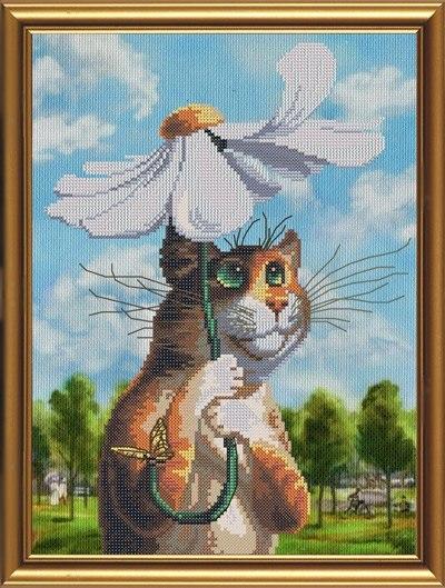 Вышивка котенок с ромашкой